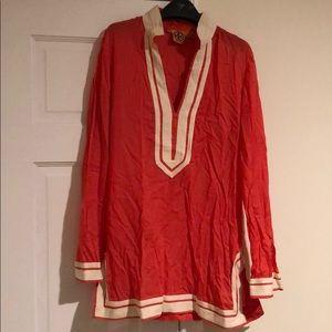 TORY BURCH coral grosgrain trim tunic shirt